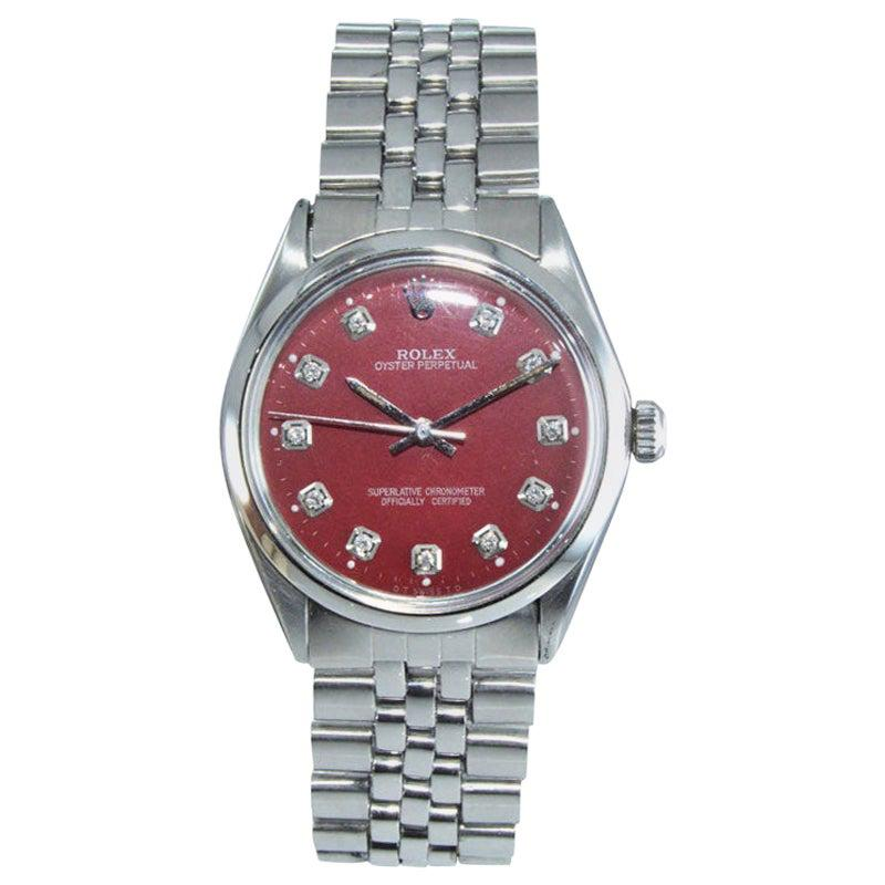 Rolex Stainless Steel Oyster Perpetual Custom Red Diamond Dial, circa 1970s