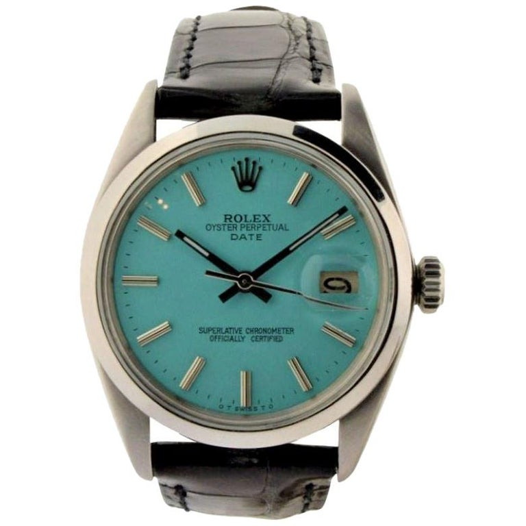 Rolex Stainless Steel Oyster Perpetual Date Custom Dial, circa 1970s For Sale