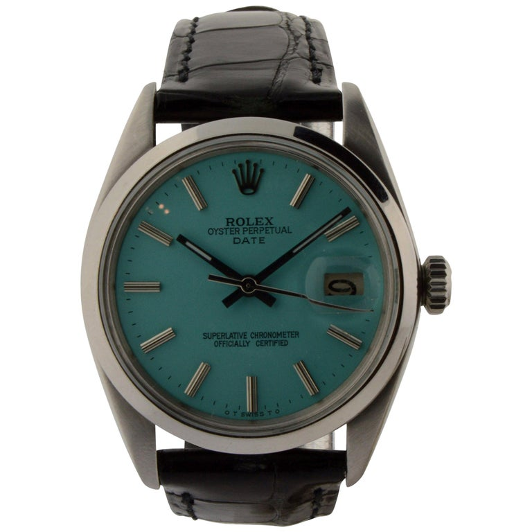 Rolex Stainless Steel Oyster Perpetual Date Custom Dial Watch For Sale