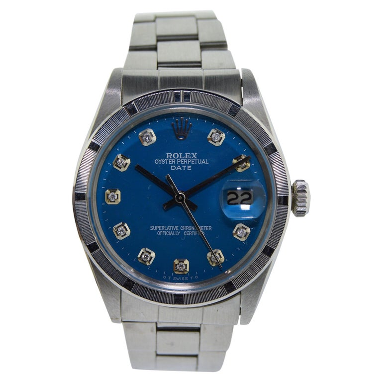 Rolex Stainless Steel Oyster Perpetual Date Custom Diamond Dial Watch, 1970s For Sale