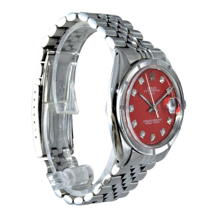 Rolex Stainless Steel Oyster Perpetual Date Red Diamond Dial Watch In Excellent Condition For Sale In Venice, CA
