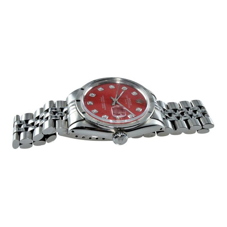 Women's or Men's Rolex Stainless Steel Oyster Perpetual Date Red Diamond Dial Watch For Sale