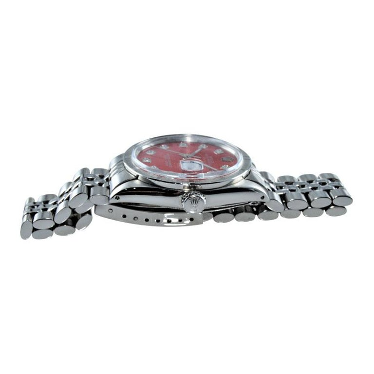 Rolex Stainless Steel Oyster Perpetual Date Red Diamond Dial Watch For Sale 1