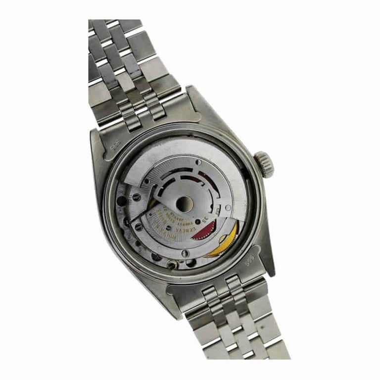 Rolex Stainless Steel Oyster Perpetual Date Red Diamond Dial Watch For Sale 2