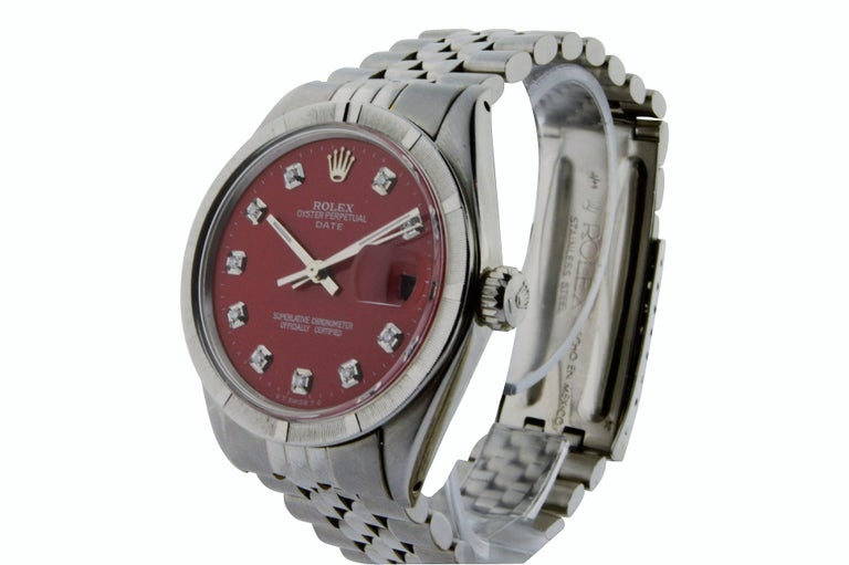 Rolex Stainless Steel Oyster Perpetual Date Red Diamond Dial Watch For Sale 3