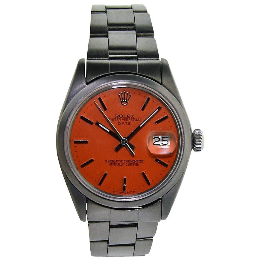 Rolex Stainless Steel Oyster Perpetual Date Red Orange Dial Automatic Watch