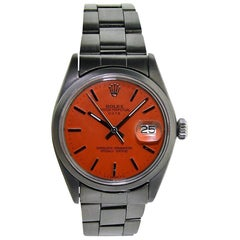 Rolex Stainless Steel Oyster Perpetual Date Custom Red Orange Dial, circa 1970's
