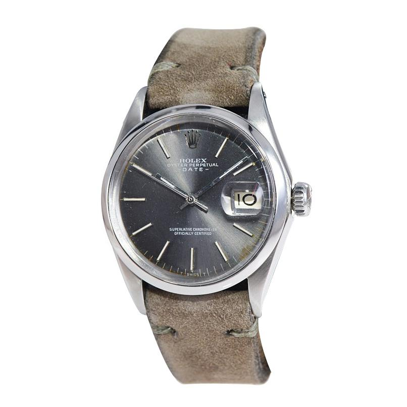 Rolex Stainless Steel Oyster Perpetual Date with Rare Charcoal Dial Early 1970's