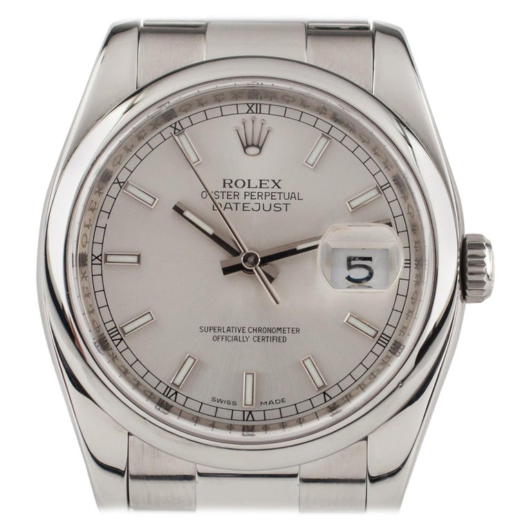 Rolex Stainless Steel Oyster Perpetual Datejust 116200 Men's Automatic Watch For Sale