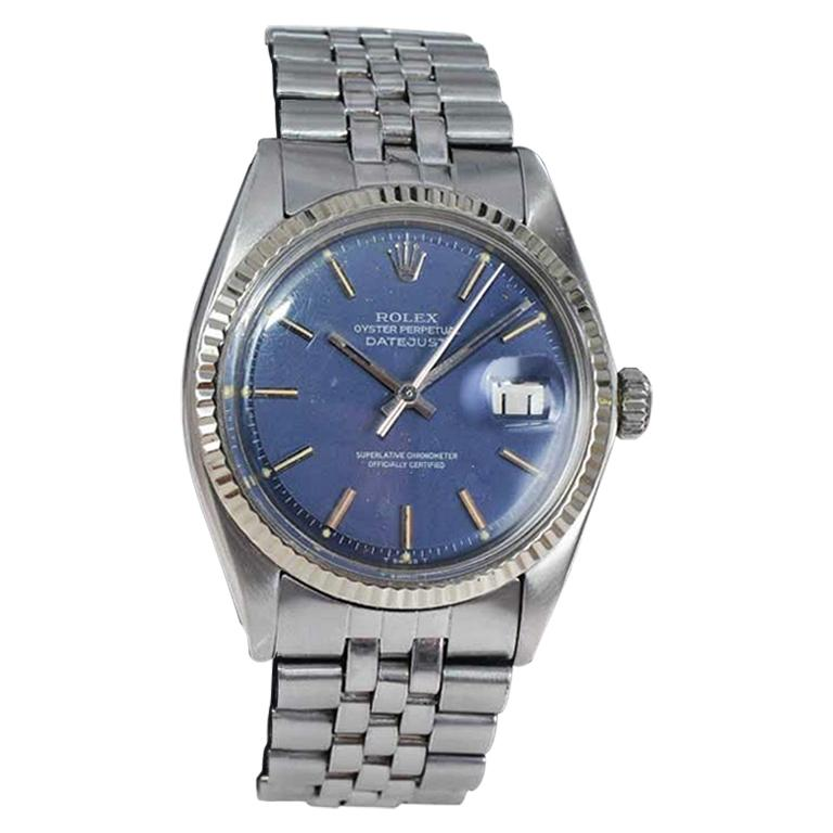 Rolex Stainless Steel Oyster Perpetual Datejust Original Blue Dial, Mid 1970's
