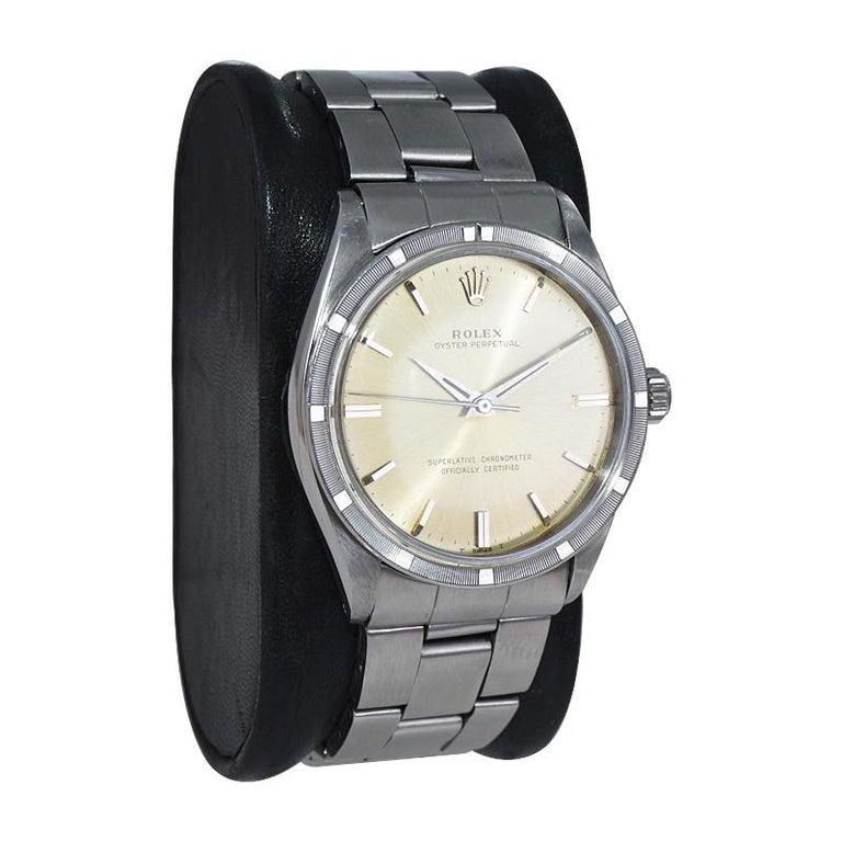 Modernist Rolex Stainless Steel Oyster Perpetual Original Patinated Dial from 1964/65 For Sale