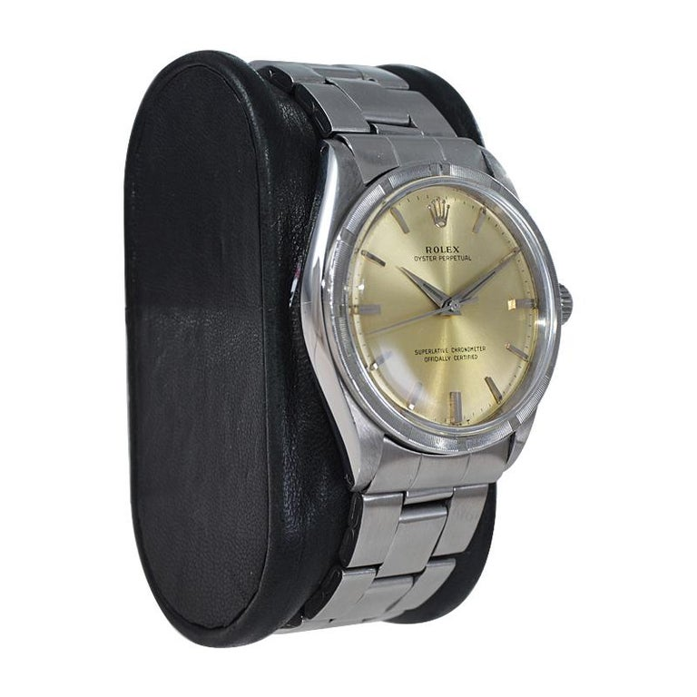 Rolex Stainless Steel Oyster Perpetual Original Patinated Dial from 1964/65 In Excellent Condition For Sale In Long Beach, CA