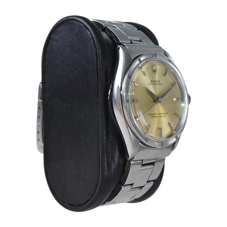 Women's or Men's Rolex Stainless Steel Oyster Perpetual Original Patinated Dial from 1964/65 For Sale