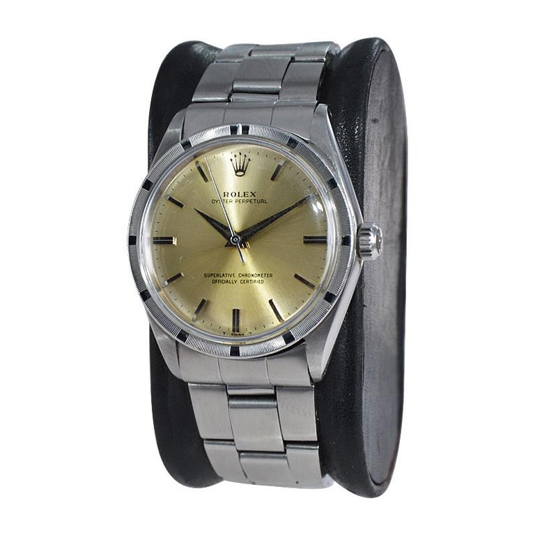 Rolex Stainless Steel Oyster Perpetual Original Patinated Dial from 1964/65 For Sale 1