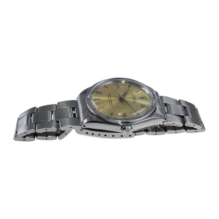 Rolex Stainless Steel Oyster Perpetual Original Patinated Dial from 1964/65 For Sale 3