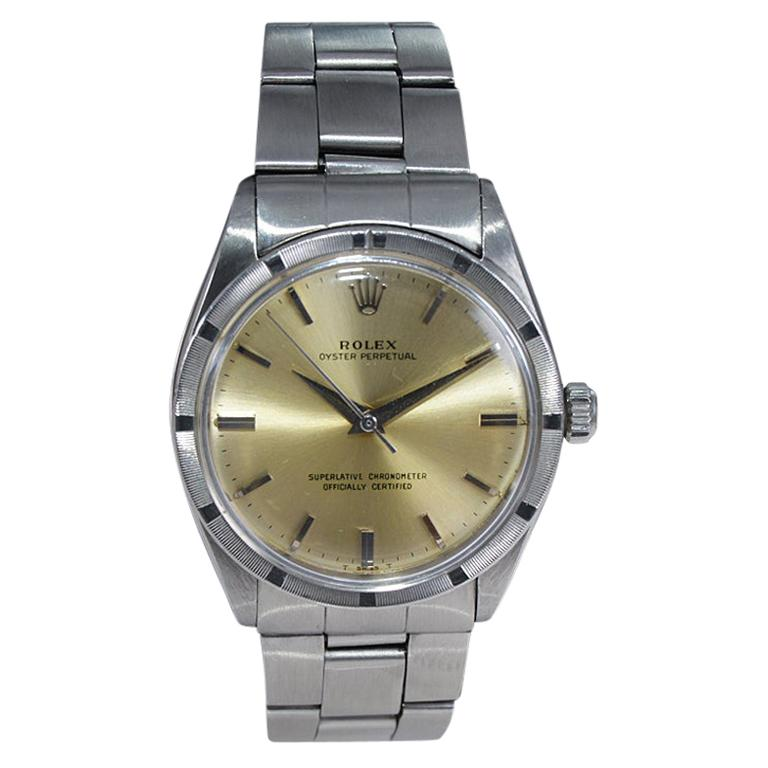 Rolex Stainless Steel Oyster Perpetual Original Patinated Dial from 1964/65 For Sale