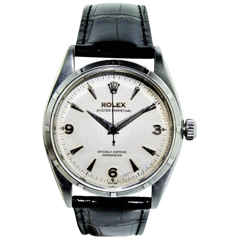 Rolex Stainless Steel Oyster Perpetual Original Waffle Dial Watch, 1955