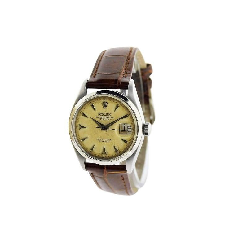 Art Deco Rolex Stainless Steel Oyster Perpetual Patinated Dial Manual Watch, 1957 For Sale