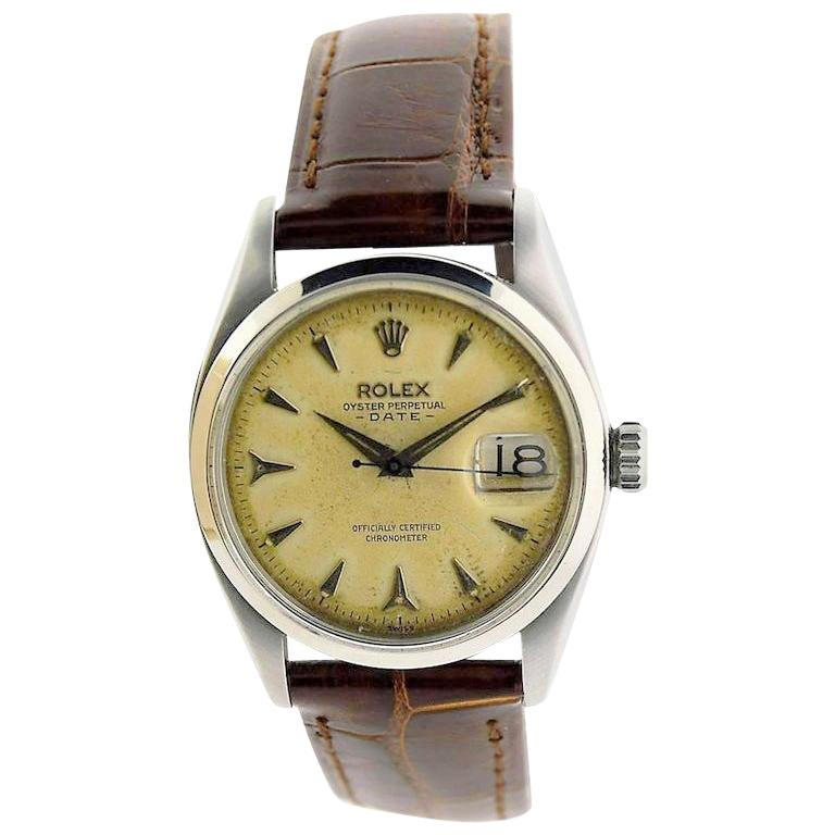 Rolex Stainless Steel Oyster Perpetual Patinated Dial Manual Watch, 1957 For Sale