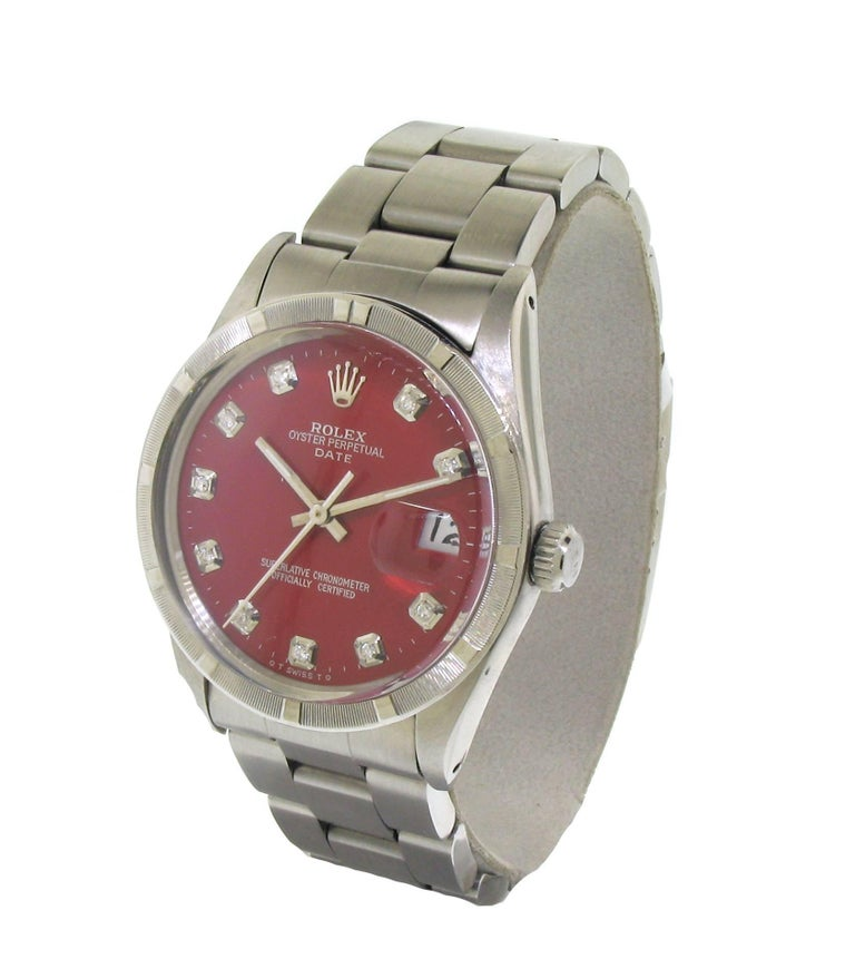 Rolex Stainless Steel Oyster Perpetual Red Diamond Dial, circa 1981 In Excellent Condition For Sale In Venice, CA