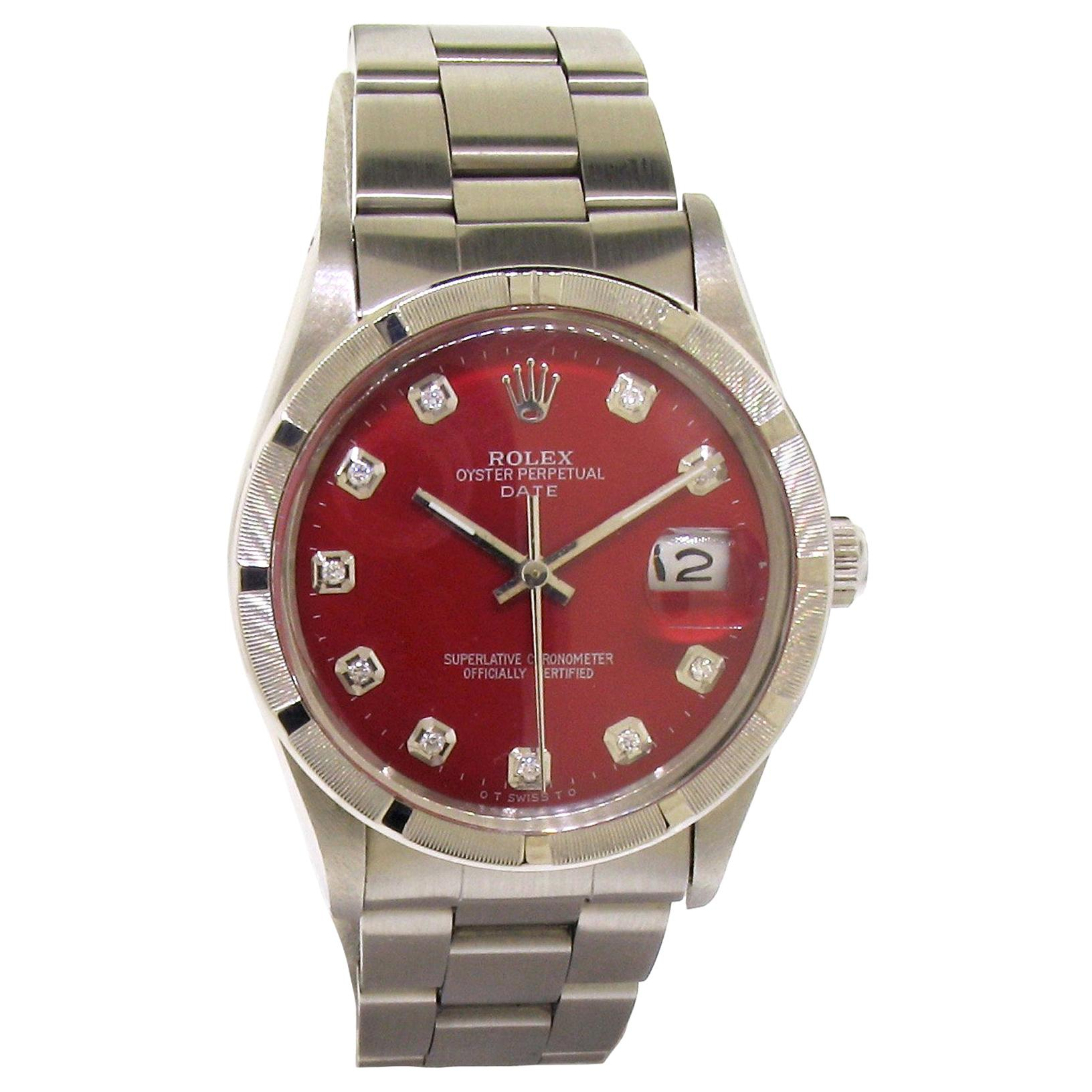Rolex Steel Oyster Perpetual Date Ref. 5500 Red Diamond Dial, Early 1980's