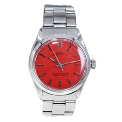 Rolex Stainless Steel Oyster Perpetual with Custom Red Dial from Late 1960's