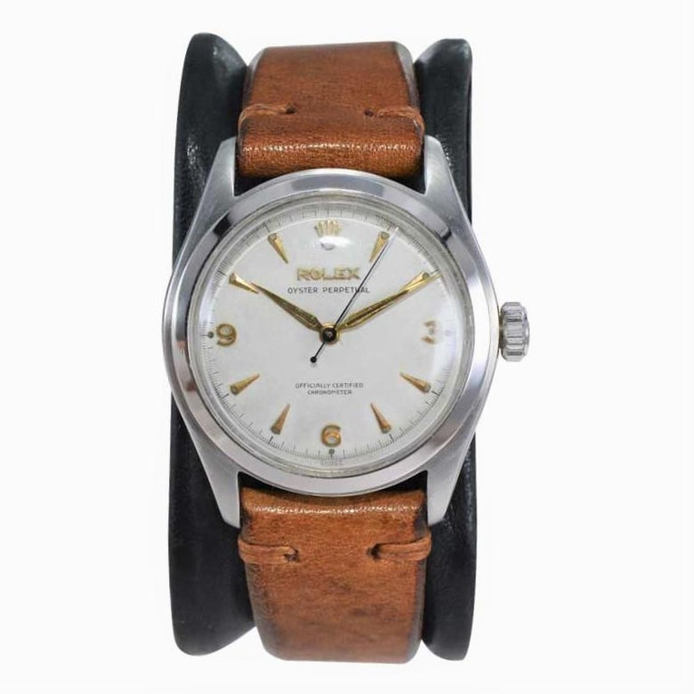 Post-War Rolex Stainless Steel Oyster Perpetual Wristwatch from 1952 For Sale