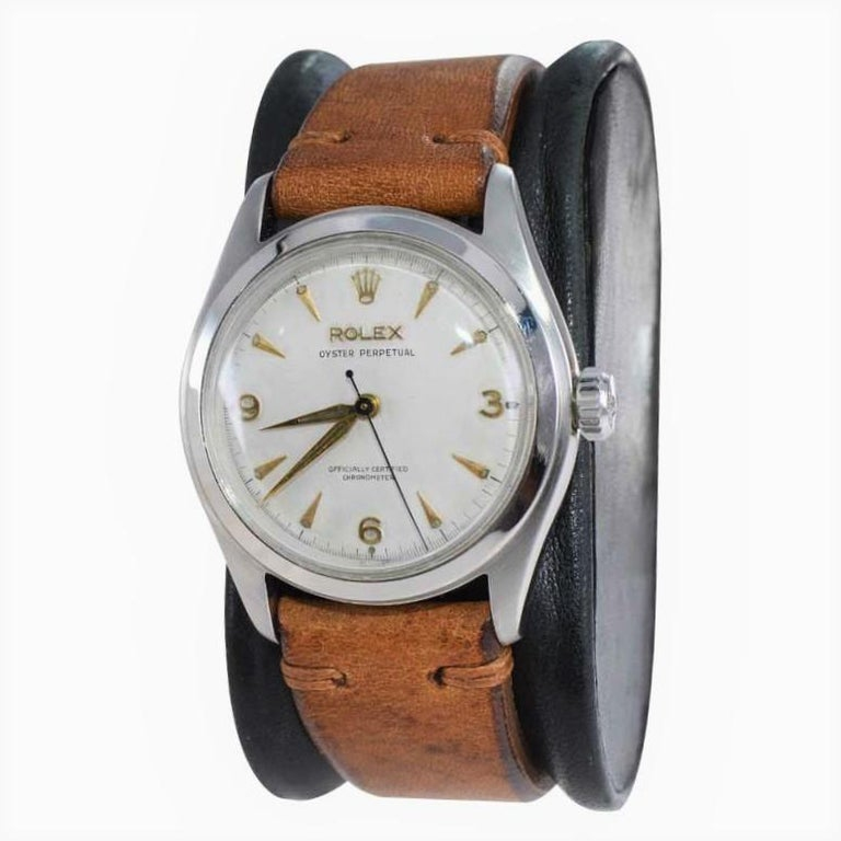 Rolex Stainless Steel Oyster Perpetual Wristwatch from 1952 In Excellent Condition For Sale In Long Beach, CA