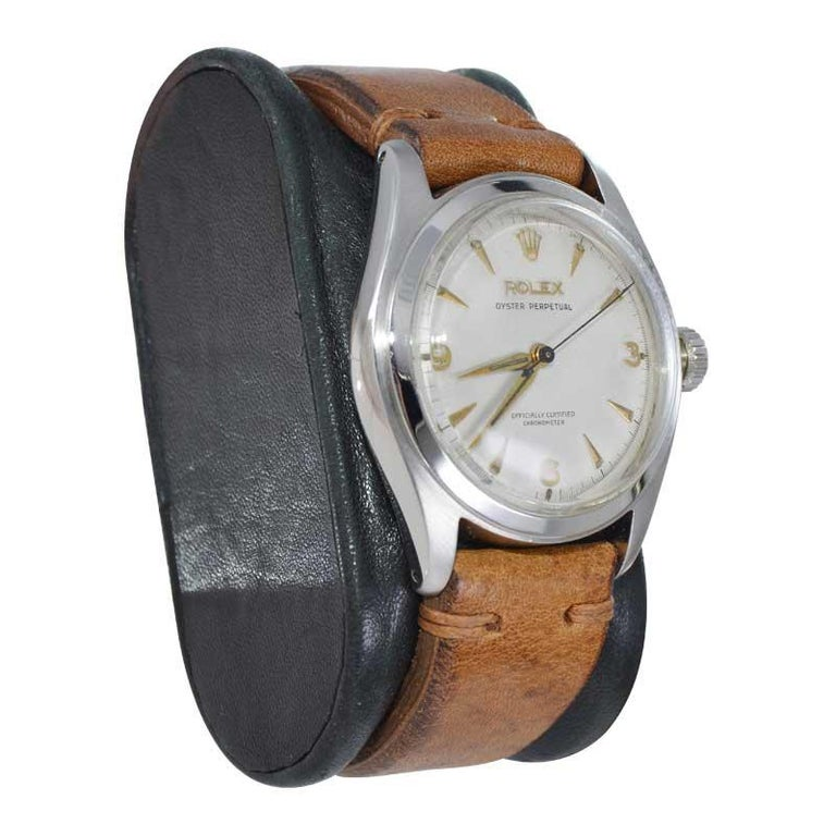 Women's or Men's Rolex Stainless Steel Oyster Perpetual Wristwatch from 1952 For Sale