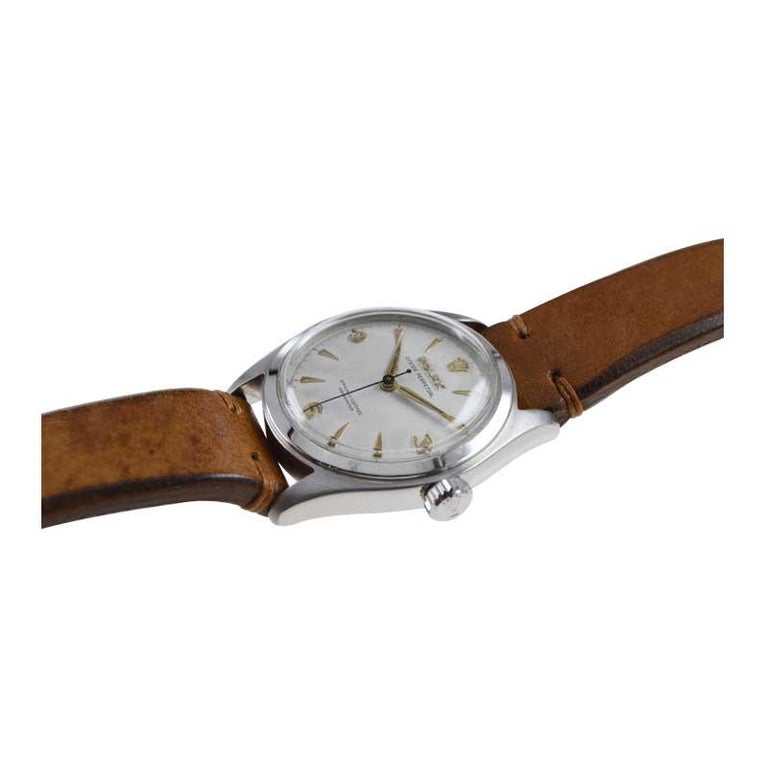 Rolex Stainless Steel Oyster Perpetual Wristwatch from 1952 For Sale 2