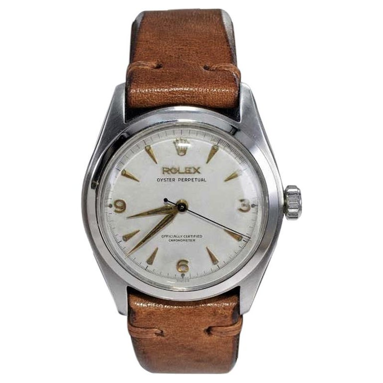 Rolex Stainless Steel Oyster Perpetual Wristwatch from 1952 For Sale