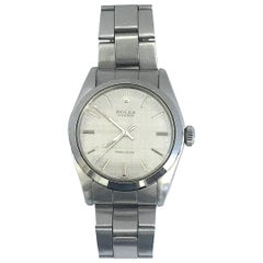 Rolex Stainless Steel Oyster Precision Linen Dial Manual Wind Wristwatch