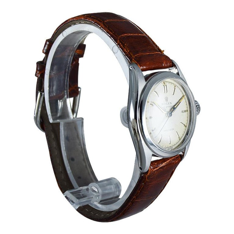 Art Deco Rolex Stainless Steel Speedking Original Dial Manual Watch, circa 1952 For Sale