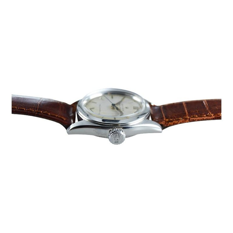 Rolex Stainless Steel Speedking Original Dial Manual Watch, circa 1952 In Excellent Condition For Sale In Venice, CA