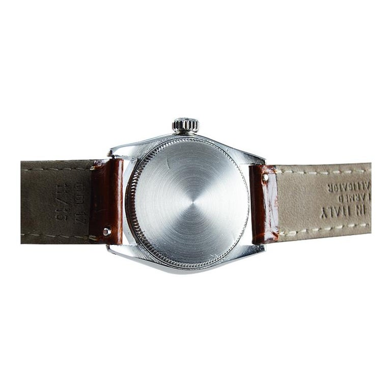 Women's or Men's Rolex Stainless Steel Speedking Original Dial Manual Watch, circa 1952 For Sale