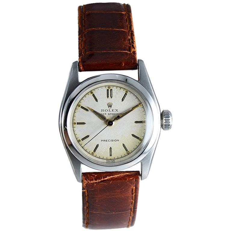 Rolex Stainless Steel Speedking Original Dial Manual Watch, circa 1952 For Sale