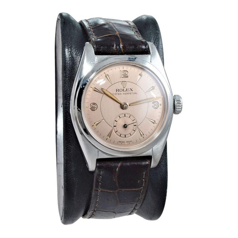 Modernist Rolex Stainless Steel Sub Seconds Bubble Back Watch, circa 1951 For Sale