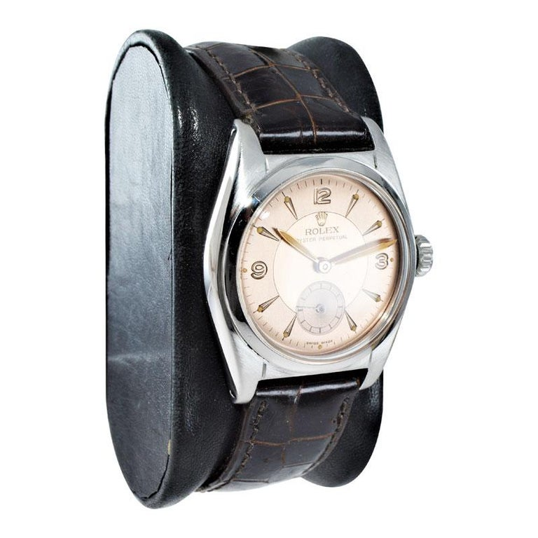 Rolex Stainless Steel Sub Seconds Bubble Back Watch, circa 1951 In Excellent Condition For Sale In Venice, CA