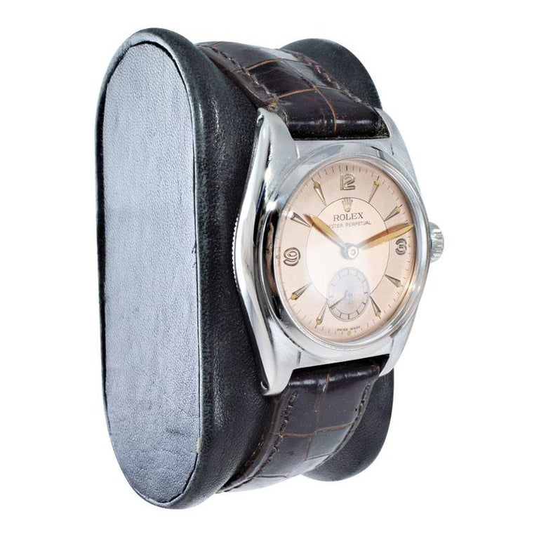 Women's or Men's Rolex Stainless Steel Sub Seconds Bubble Back Watch, circa 1951 For Sale