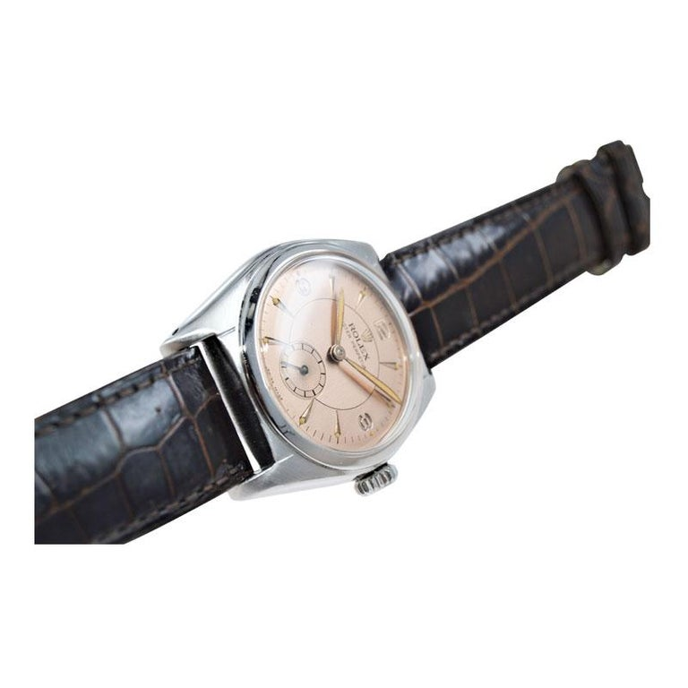 Rolex Stainless Steel Sub Seconds Bubble Back Watch, circa 1951 For Sale 3