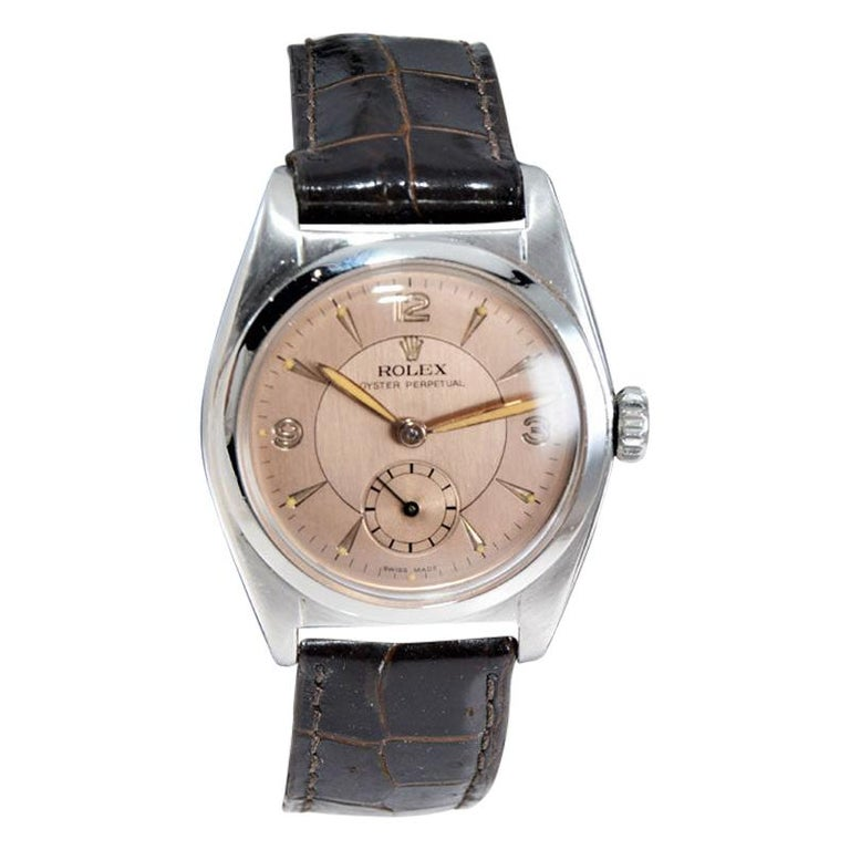 Rolex Stainless Steel Sub Seconds Bubble Back Watch, circa 1951 For Sale