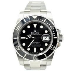 Rolex Stainless Steel Submariner Black Ceramic Bezel Automatic Wristwatch