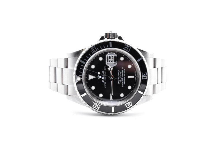 Rolex Stainless-Steel Submariner Black Dial Men's Watch Ref 16610 In Good Condition For Sale In Scottsdale, AZ