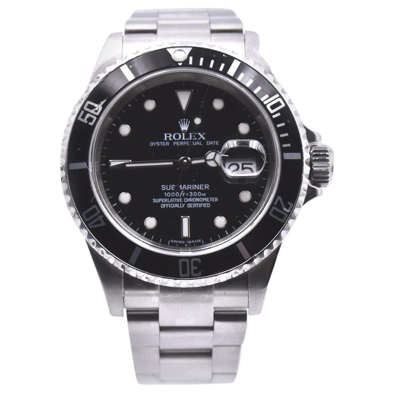 Rolex Stainless-Steel Submariner Black Dial Men's Watch Ref 16610 For Sale