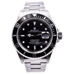 Rolex Stainless Steel Submariner Black Dial Men's Watch Ref 16610