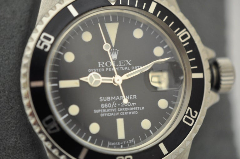 Rolex Stainless Steel Submariner Oyster Perpetual Wristwatch, circa 1977 For Sale 2