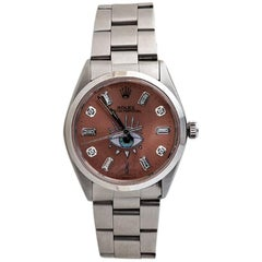 Rolex Stainless Steel Ten Diamond Custom Vintage Wristwatch
