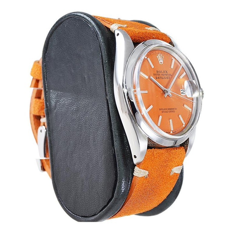 Modern Rolex Stainless Steel Vintage Datejust with Custom Orange Dial, 1970's