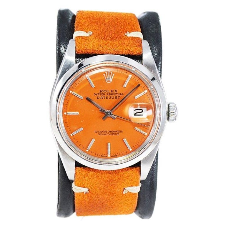 Rolex Stainless Steel Vintage Datejust with Custom Orange Dial, 1970's In Excellent Condition In Long Beach, CA