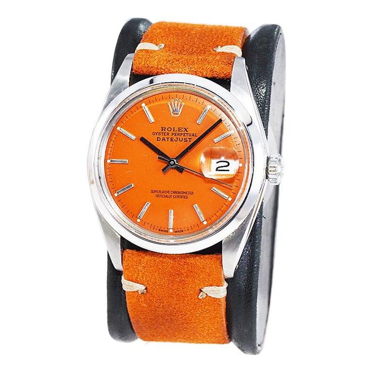 Women's or Men's Rolex Stainless Steel Vintage Datejust with Custom Orange Dial, 1970's